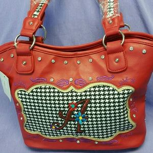 Handbags - Red houndstooth pattern Handbag.
